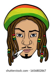 the face of a black rastaman who smokes. vector. isolated on white background.