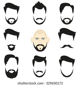 Face and blank templates hairstyles and beards, hipster style