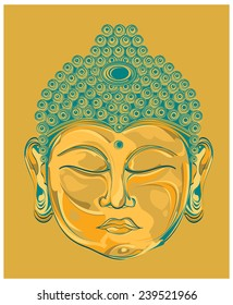 The face buddha in gold