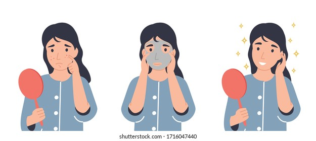 Face care concept. Girl looks in the mirror, applying face mask and removing mask. Flat vector cartoon modern illustration.