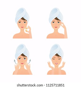 Face care routine. Girl Cleaning And Care Her Face. Steps how to apply facial serum.  Skincare vector.