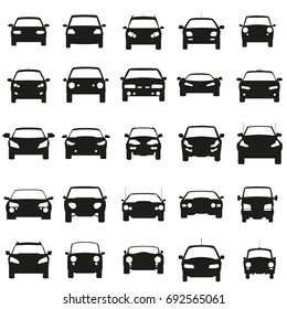 Face Cars set vector illustration. Black icons on white background