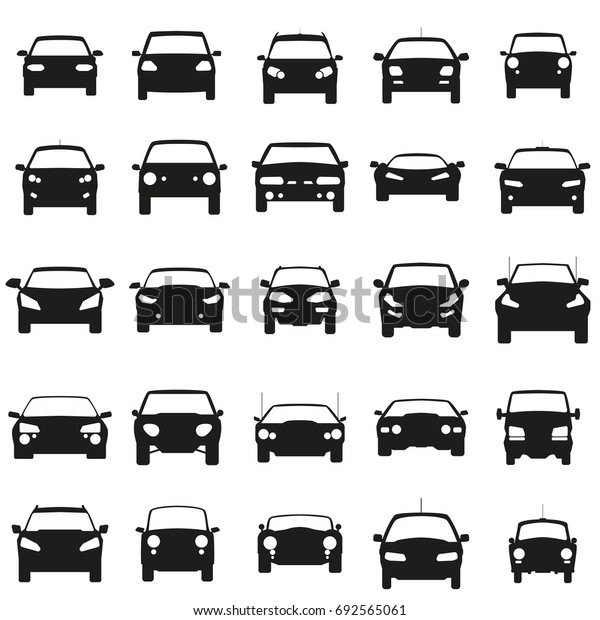 Face Cars set vector illustration. Black icons on white background