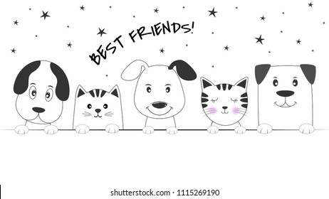 Face cats and dogs best friends white background. Contour silhouette. Funny baby puppy and kitty. Greeting card.