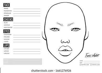 Face chart Blank. Makeup Artist Vector template. Female asian face. Outline woman portrait for makeup tutorial, beauty school, visage. Young girl model.
