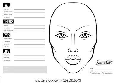 Face chart Blank. Makeup Artist Vector template. Female face. Outline woman portrait for makeup tutorial, beauty school, visage. Young girl model.