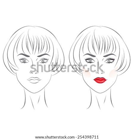Blank and with makeup on templates. Vector illustration.