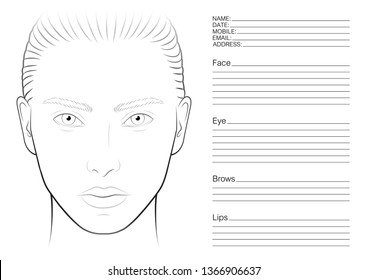 face chart make up artist blank  the contour of the face  makeup template