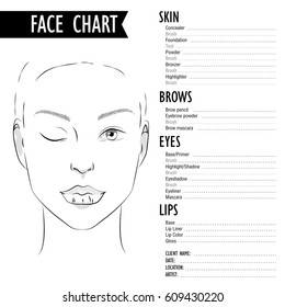Face chart make up.Ideal Facial Proportions.How to make a beautiful woman with makeup.Face chart Makeup Artist Blank.