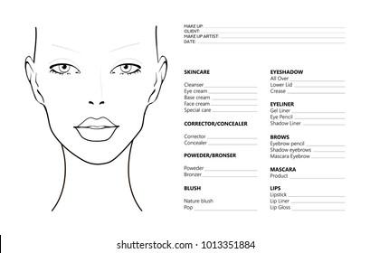 Face chart Makeup Artist Blank. Template. Vector illustration. Beauty face chart. Beautiful woman with open eyes. Face chart Makeup Artist Blank Template. Vector illustration.