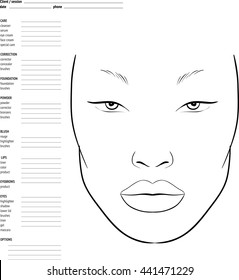 Face chart Makeup Artist Blank. Template.  schema of face for makeup artists. Asian