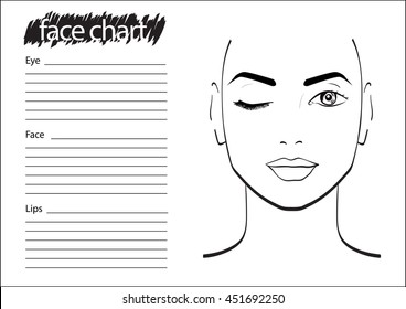 image about Makeup Face Template Printable called Deal with Chart Visuals, Inventory Photographs Vectors Shutterstock