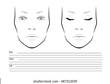 Men face chart makeup artist blank stock vector royalty free face chart makeup artist blank template vector illustration maxwellsz