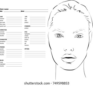 Face Chart Makeup Artist Blank Template Stock Vector Royalty Free