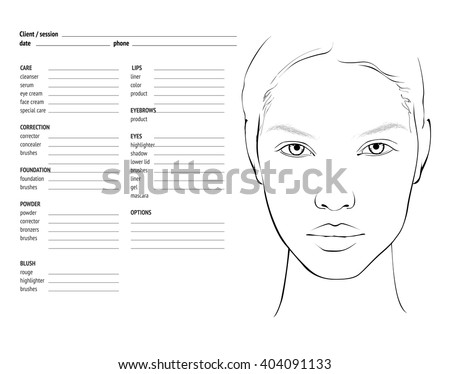 Face chart makeup artist blank template stock vector royalty free face chart makeup artist blank template maxwellsz