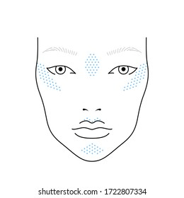 Face chart for makeup of european woman with highlight