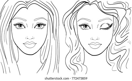 Face chart template for make up