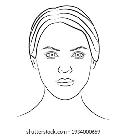 Face chart template for make up. Female face. Cosmetology concept. Vector illustration.