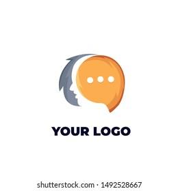 face chat logo design vector illustration