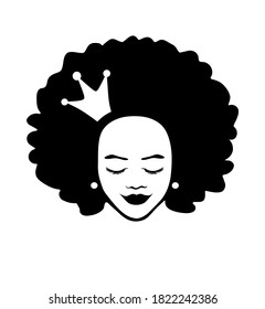 Face of a child.Black African American girl woman beautiful lady head face vector silhouette drawing illustration with curly hair and crown isolated on white background.Queen.Princess.