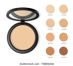 Face compact makeup powder with color swatches. Vector realistic cosmetic powder in the black round plastic case with mirror. Isolated on white background. Top view.