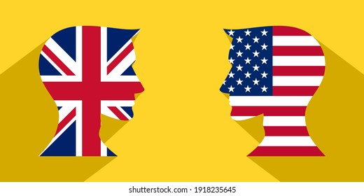 face to face concept with british vs american. banner, sticker, print, decorative