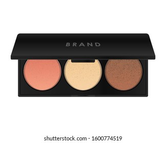 Face contouring makeup palette. Sculpting blush, highlighter, bronzer cosmetic products. Black square plastic container with three round color samples. 3D vector template.