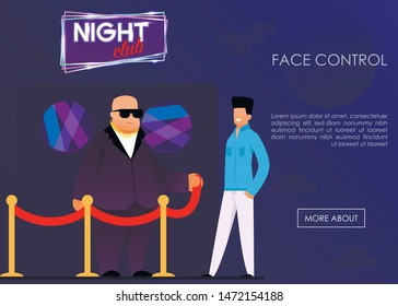 Face Control Service for Night Club Landing Page. Security Agency Advertising Banner. Cartoon Strong Bouncer Guardian and Man Visitor Standing at Entrance. Vector Flat Illustration with Promo Text