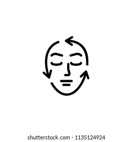 Face correction line icon. Woman, arrow, contour. Beauty care concept. Can be used for topics like aging, aesthetics, cosmetology