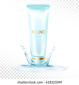 Face cream ads, blue plastic container in vector realistic illustration for ads or magazine, dynamic water fluid effects, fresh atmosphere. Moisturizing cosmetic ad.