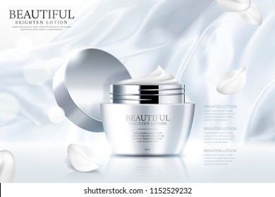Face cream ads with pearl white smooth satin and petals in 3d illustration