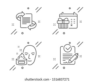 Face cream, Marketing and Christmas calendar line icons set. Rfp sign. Gel, Article, Presents day. Request for proposal. Business set. Line face cream outline icon. Vector