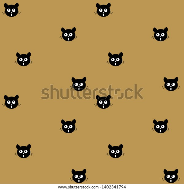Face Cute Black Cat Cartoon Style Stock Image Download Now