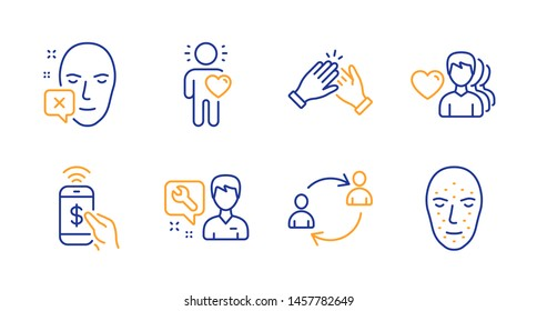 Face declined, Friend and Repairman line icons set. Man love, User communication and Clapping hands signs. Phone payment, Face biometrics symbols. Identification error, Love. People set. Vector