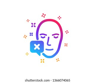 Face declined icon. Human profile sign. Facial identification error symbol. Dynamic shapes. Gradient design face declined icon. Classic style. Vector