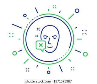Face declined line icon. Human profile sign. Facial identification error symbol. Quality design elements. Technology face declined button. Editable stroke. Vector
