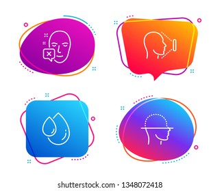 Face declined, Oil drop and Face id icons simple set. Identification error, Serum, Identification system. Faces detection. Medical set. Speech bubble face declined icon. Colorful banners design set
