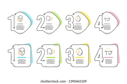 Face declined, Oil drop and Face id icons simple set. Identification error, Serum, Identification system. Faces detection. Medical set. Infographic timeline. Line face declined icon. Vector