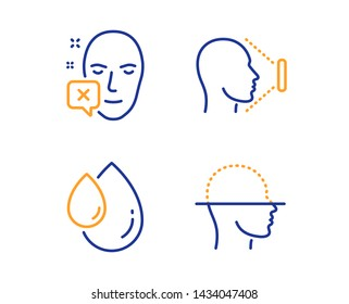 Face declined, Oil drop and Face id icons simple set. Identification error, Serum, Identification system. Faces detection. Medical set. Linear face declined icon. Colorful design set. Vector