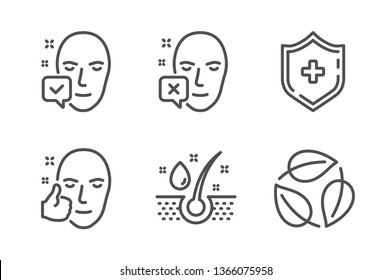 Face declined, Serum oil and Face accepted icons simple set. Medical shield, Leaves signs. Identification error, Healthy hairs. Healthcare set. Line face declined icon. Editable stroke. Vector