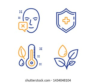 Face declined, Thermometer and Medical shield icons simple set. Plants watering sign. Identification error, Grow plant, Medicine protection. Water drop. Healthcare set. Linear face declined icon