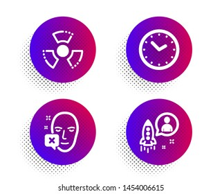 Face declined, Time and Chemical hazard icons simple set. Halftone dots button. Startup sign. Identification error, Clock, Toxic. Developer. Science set. Classic flat face declined icon. Vector