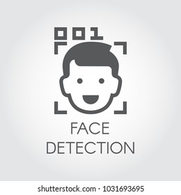 Face detection flat icon. Facial biometric recognition. Men head, frame scanning and code control. Technology of human identification in phone, smartphone and other devices. Security innovation system