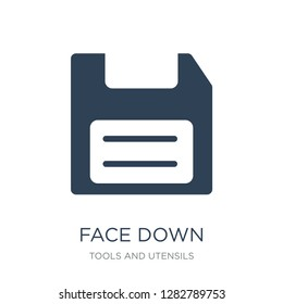 face down floppy disk icon vector on white background, face down floppy disk trendy filled icons from Tools and utensils collection, face down floppy disk vector illustration