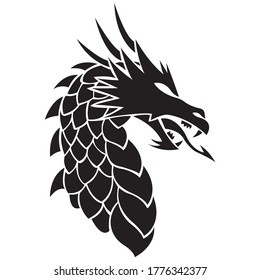 Face of the dragon drawn in black lines in the Celtic style. Design can be used for logo, tattoo, mascot, mythical animal symbol, stencil, print for t-shirt or clothes. Editable vector illustration