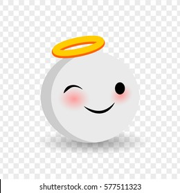 Face emoji yellow icon. Smile cute funny emotion face on transparent background. Happy feelings, expression for message, sms. Cute funny smile winking angel face. Vector illustration smile icon.