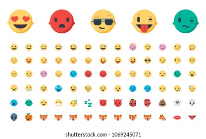 Face emojis, emoticons, stickers, emotions flat vector illustration symbols. Faces, feelings, shy, embarrassed, smile, mood, joke, lol, laugh, cry, happy, smileys icons set, collection
