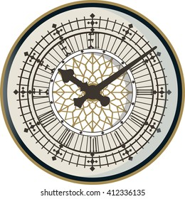 The face of english clock on the tower of Big Ben. Vector illustration