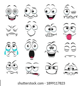 Face expression isolated vector icons, funny cartoon emoji hypnotized, crying and surprised, show teeth and tongue , laughing, smiling and sad. Facial feelings, emoticons upset, happy cute faces set