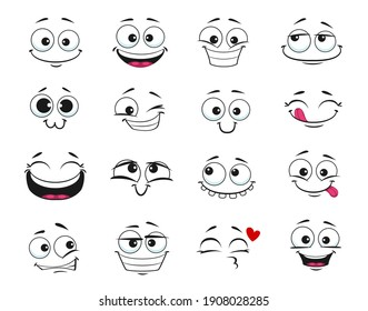 Face expression isolated vector icons, funny cartoon emoji dreaming, fall in love, laughing and smile. Facial feelings, emoticons kissing, happy and show tongue, toothy. Positive face expressions set